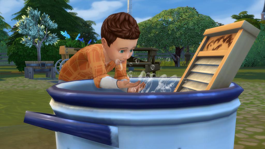 Toddlers will splash around in the wash tub